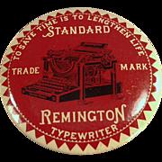 Old, Celluloid, Advertising Mirror Paperweight - Remington Typewriter