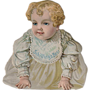 Old, Schilling's Best, Advertising Trade Card - Die Cut Baby