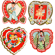 SOLD 4 Old Valentines - all were for Sheldon - 1938