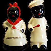 Old, Black Memorabila, Salt & Pepper Set - Mammy & Chef, Virginia Souvenir