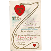 Old Valentine Postcard - Cute Poem
