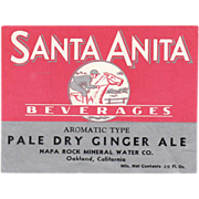 Old, Soda Bottle Label - Santa Anita Beverages