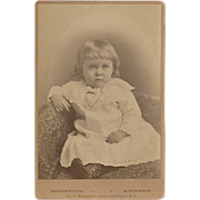 Old, Cabinet Card Photograph - Little Girl in White Dress