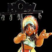 Old, Chalk Indian Display Figure - Colorful & Fun
