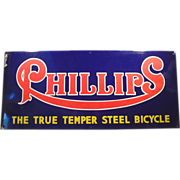 Old, Porcelain, Phillips Bicycles Advertising Sign