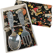 Baby's Old, Silver Plate Flatware Set - Little Miss Muffet