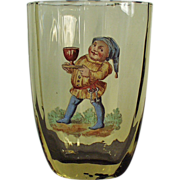 Old Cider Glass - Nice Painted Enamel Elf Design