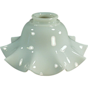 Old, Glass Light Shade - Fluted Milk Glass, Single