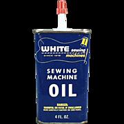 Old, White Sewing Machine, Advertising Oil Tin