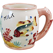 Child's Old Milk Cup with a Fish Design