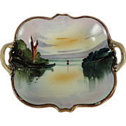 Old Nippon, Hand Painted, Handled Porcelain Nut Dish