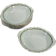 5 Old Dessert Dishes - Royal Saxony -  Green Ivy Trim