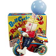 Old, Wind Up Toy - Celluloid Rabbit on Tin Tricycle with Original Box