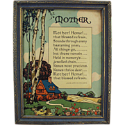 "Old Motto Print ""Mother! Home!"" Poem by John Jarvis Holden"
