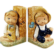 Old, Pottery Bookends - Country Boy and Girl