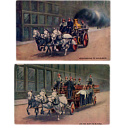 Two Old Postcards - Horse Drawn Fire Vehicles