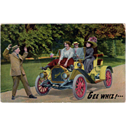Old Postcard - Old Buick Touring Car Photo - Humorous Advertising