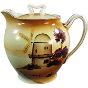 Old, Porcelain Teapot with Hand Painted Windmill Scene