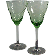 Old Stemware - Green, Optic Swirl Bowls with Clear Stems - Pair