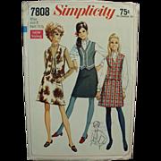 "Old Pattern - Simplicity #7808 - Very Mod Skirt & Vest - Miss 8 - Bust 31 1/2"""