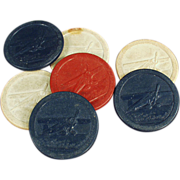 Old, Clay, Poker Chips with Airplane Design -7