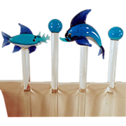 Old, Blown Glass Swizzle Sticks with 4 Different Fish- Set of 4