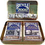 SOLD Old, Bicycle Playing Cards - 2 Decks with Millennium Tin