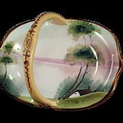 Old, Hand Painted, Porcelain Basket - Nippon