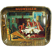 Old Advertising Tray - Early, Budweiser Beer with Colorful Scene