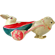 Old, Celluloid Easter Toy - Bunny and Chick Rattle