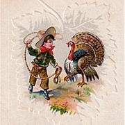 Vintage Postcard - Thanksgiving Turkey & Cowboy