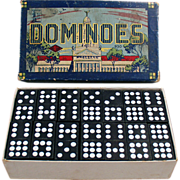 Set of Old Dominoes with Original Box - Hal-San #930 - U.S. Capitol Building