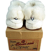 Old, White Leather Moccasins for a Little Girl - Original Bloom-ease Box