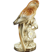 Old, Bird Figurine - Porcelain Parakeet in Brown Tones