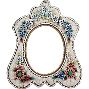 Old, Micro Mosaic Frame with Floral Design & Pretty Shape