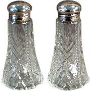 Old Salt & Pepper Set -  Sterling Silver & Pressed Glass