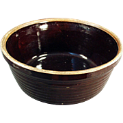 Old Stoneware Bowl - U.S.A. - Dark Brown Glaze