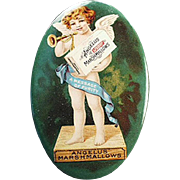 Old, Celluloid Pocket Mirror -  Angelus Marshmallows - Colorful Cherub