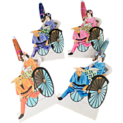 Old, Paper Placecards - Japanese Geishas in Rickshaws