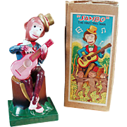 Old, Celluloid, Wind Up Toy - Monkey Guitarist - Sambo with Original Box.
