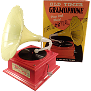 Old, Toy Gramophone, Music Box with Original Box