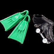 Old, Ken Doll, Sports Shoes - Scuba Fins & Roller Skates