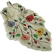 Old, Blue Ridge Celery Dish - Leaf Shape, Floral Pattern