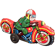 Old, Japanese, Tin Toy Motorcycle - Little and Colorful