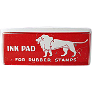 Child's, Old Ink Pad Tin with Lion Graphics