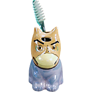 Old Toothbrush Holder - Funny Looking Dog - Japan, Lusterware
