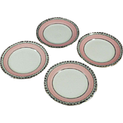 Old, Nippon Butter Pats, Pink & Black - Set of 4