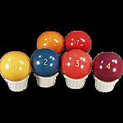 Old Pool Balls - Bakelite - Solid, Numbered - Six Balls