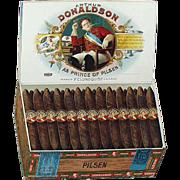 Old, Cardboard Sign Advertising Arthur Donaldson Pilsen Cigar