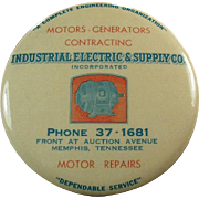 Old, Celluloid & Mirror Paperweight - Industrial Electric Supply Co. Advertising